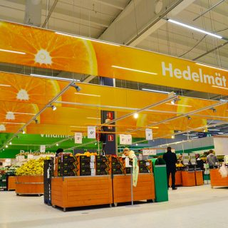 Colourful banners in a grocery store in Finland